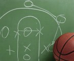 Basketball in chalkboard with play