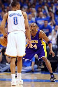 Kobe Bryant defensive stance vs Russell Westbrook on the road